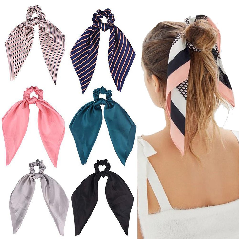 2019 Soft Satin Ribbon Hair Scrunchie Rope For Women Hair Accessories Hair Rubber Holder Ponytail Elastic Hairband Ties   Headwear