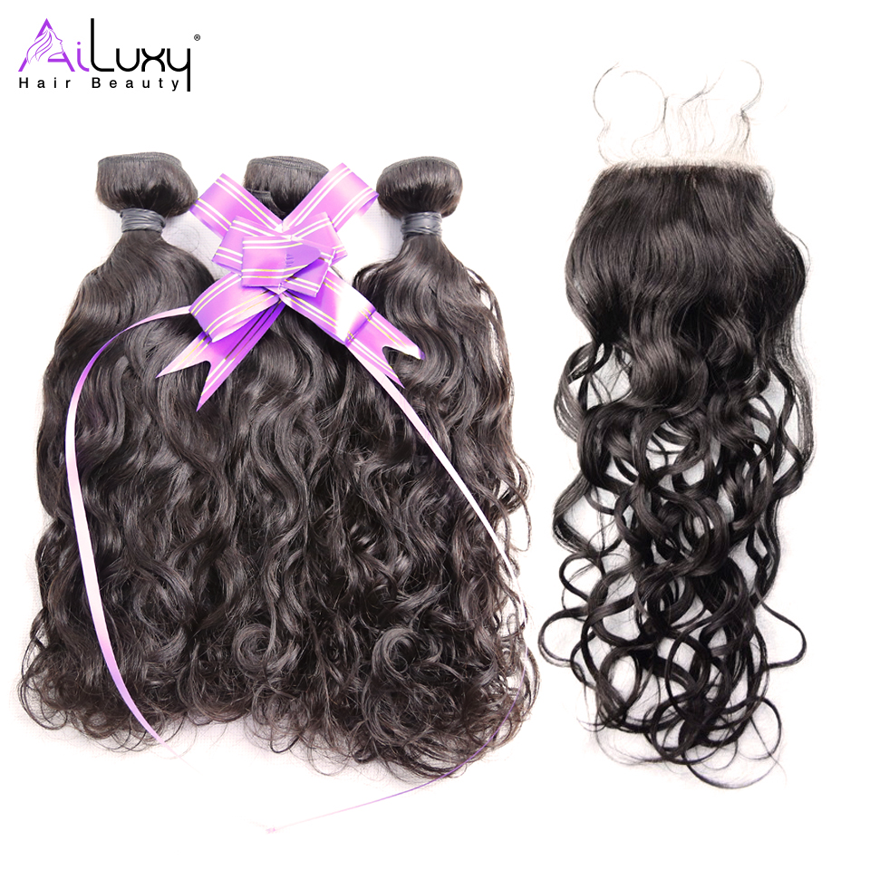 Ailuxy Hair Beauty Water Wave Eurasian Remy Weave Bundles Deal 100 With Closure 1b Human Extensions Free Shipping In Salon Bundle Pack From