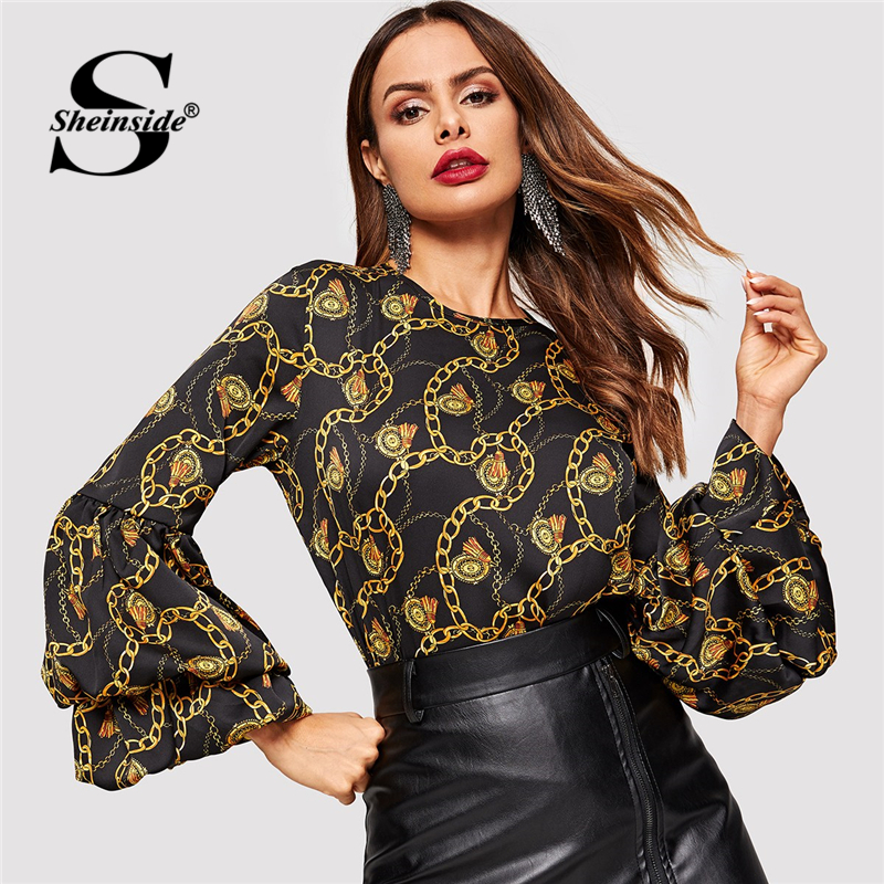 Sheinside Elegant Blouses & Shirts Women Chain Print Keyhole Back Top Office Ladies OL Work Blouse Shirt Long Sleeve Womens Tops