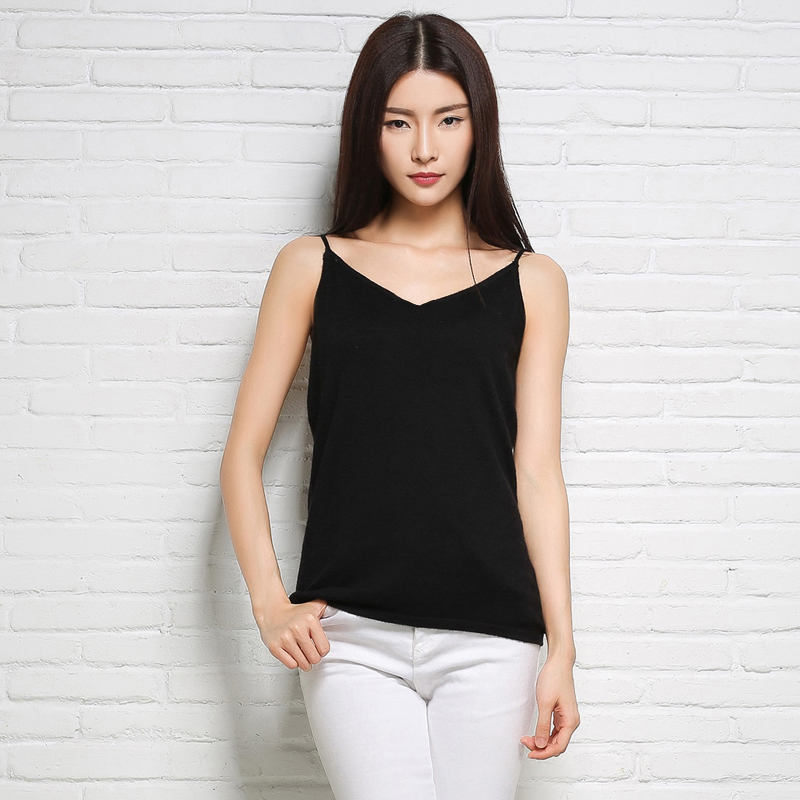 Woman Velour Camisole fashion Round neck Short Sleeve head vest 2017 Black Elastic Soft wool sling The All-match woman Jacket