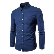 New Autumn Fashion Brand Men Clothes Slim Fit Long Sleeve Shirt Solid color Cotton Casual Social Plus Size 5XL