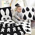 Трикотажные Детские Одеяла Черный Белый Постельные Принадлежности Одеяло Пеленать Крест Кролик Майо Ребенок Полотенце Игровой Коврик Набор Мант Для Новорожденных