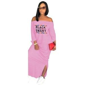 Image 3 - Africa Vestiti di Autunno Donne Sexy Casual Senza Spalline Side Split Manica Lunga Vestito lungo Allentato Lettera di stampa Più Il Formato S XXXL