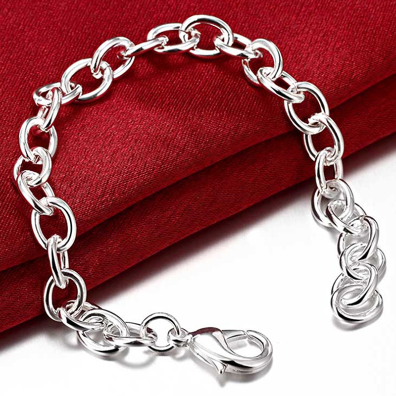 DOTEFFIL 925 Sterling Silver 8-Inch Basic Chain Bracelet For Woman Charm Wedding Engagement Fashion Party Jewelry