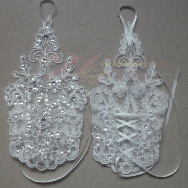 Luvas Nupcial encantador Do Casamento Branco Acessório Nupcial Frisada Lace Sexy luvas sem dedos WR11