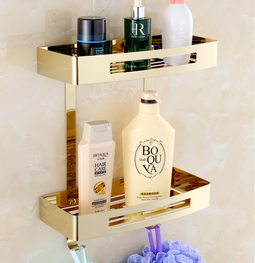 Wall Mounted Gold 304 Stainless Steel Square Bathroom Soap Dish Bath Shower Shelf Bath Shampoo Holder Basket Holder Corner Shelf