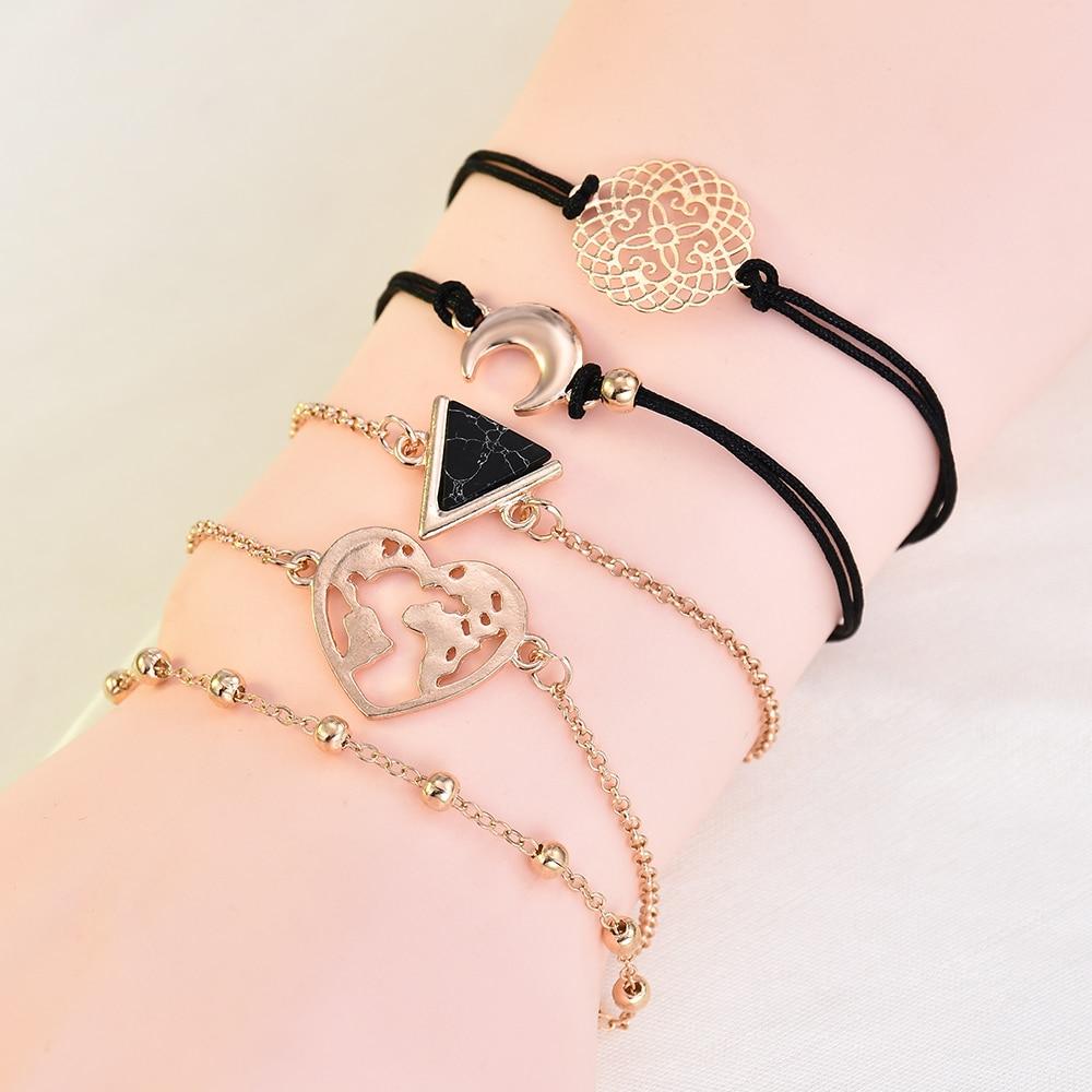 2019 New Fashion Mix Heart Pearl Wave LOVE Crystal Marble Charm Bracelets for Women Boho Tassel Bracelet Jewelry Wholesale in Chain Link Bracelets from Jewelry Accessories