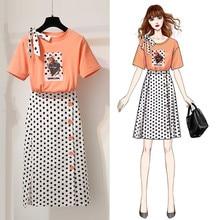 ICHOIX 2 Pieses skirt sets women bow tie polka dot elegant casual t shirt S-XL pieces summer beach outfits