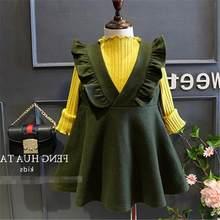 Inverno ragazze vestiti per bambini di lana vestito verde di modo del  bambino tutto il fiammifero vestiti nuovi per bambini prin. f1110db5d29