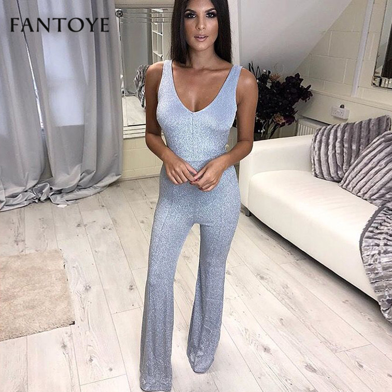 Fantoye Spring Shiner Spaghetti Strap Sexy   Jumpsuit   Women Sleeveless Backless Streetwear Bodycon Bandage Party Rompers Overalls
