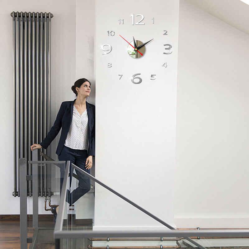 Nowoczesny duży 4cm 3D lustro powierzchnia zegar ścienny 3D naklejka ścienna strona główna pomieszczenie biurowe DIY ściana Decor akcesoria do dekoracji domu