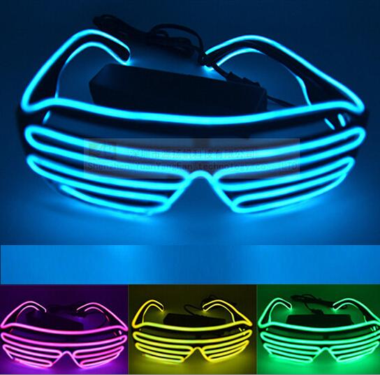 Venta caliente de La Nueva Llegada de La Venta Caliente EL Cable de Neón LED Light Up Shutter Gafas De Moda para el Festival Del Partido Del Traje YH137