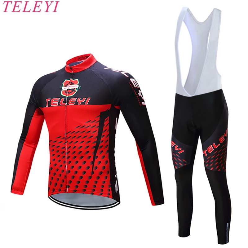 2017Hot Sale Black&Red Long Sleeve Spring Cycling Jersey Roupa Ciclismo/Pro Team Bicycle Bike Clothes Riding Cycling Jersey Set
