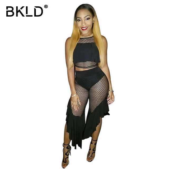 b988057ad07 BKLD Sexy Ruffled Hollow Out Fishnet Two Piece Outfit Sets Summer  Sleeveless Black Bodycon Mesh Set Womens 2pcs Cropped Tops Set