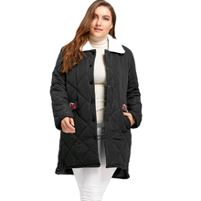 Plus Size High Low Floral Embroidered Padded Coat