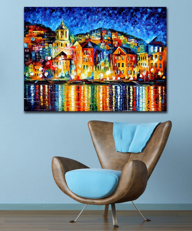 100 Hand painted Palette font b Knife b font Painting Attractive City Harbor at Night Canvas