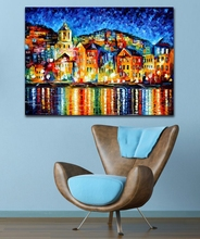 100% Hand-painted Palette Knife Painting Attractive City Harbor at Night Canvas Painting for Living Room Home Decor Art No Frame