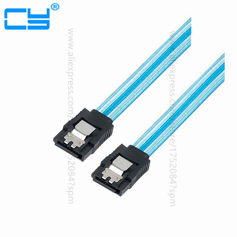 20in 50CM SATA 3.0 III 6Gb/s High Speed HDD Data Cable Cord 6Gbs PC Hard Disk Drive Connect Cable Connector Clear Blue
