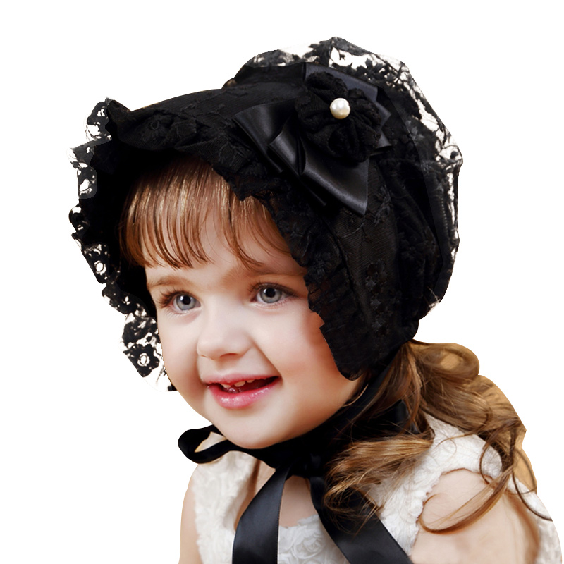 Lace Girls Hat Flower Princess Sun Hat Lace Up Girls Palace Beanie European Style Baby Hat Spring Autumn Baby Girls Clothing (4)