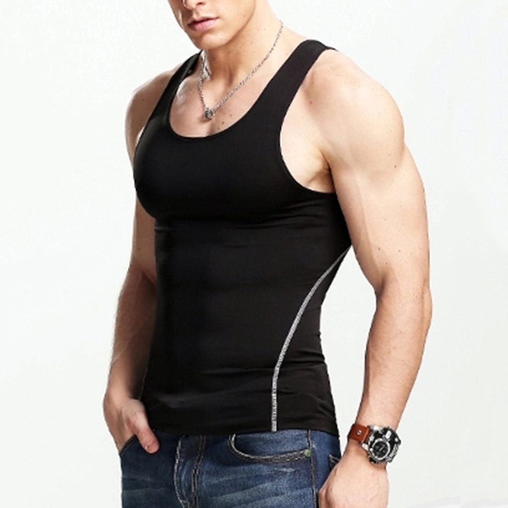 Men's Polyester Sleeveless Shirt Compression Singlet Underwear Undershirt Breathable Man Vest   Tank   Tight Shirt Sport Wear