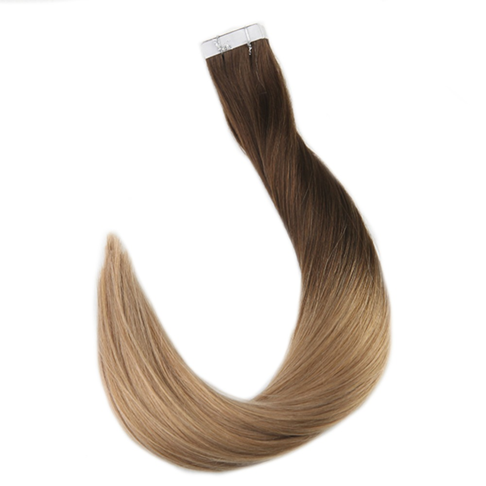 Full Shine Tape In Hair Extensions Color #4 Brown Fading To #27 Honey Blonde 50g 20 Pcs Tape On Hair Extension Machine Made Remy