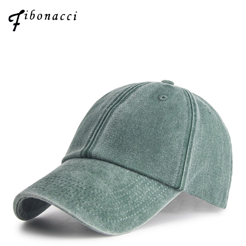 Fibonacci High Quality Washed Cotton Denim Baseball Cap Casual Solid Color Snapback Dad Hats for Women Men Drake Caps aetrue winter knitted hat beanie men scarf skullies beanies winter hats for women men caps gorras bonnet mask brand hats 2018