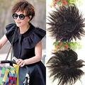 Черный Коричневый Наращивание Волос Короткие Кукуруза Вьющиеся Волнистые Женщины Синтетические Волосы Ручной Weave Клип в Парики Шиньоны