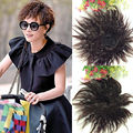 Black Brown Hair Extension Short Corn Curly Wavy Women Synthetic Hair Hand Weave Clip in Toupees Hairpieces