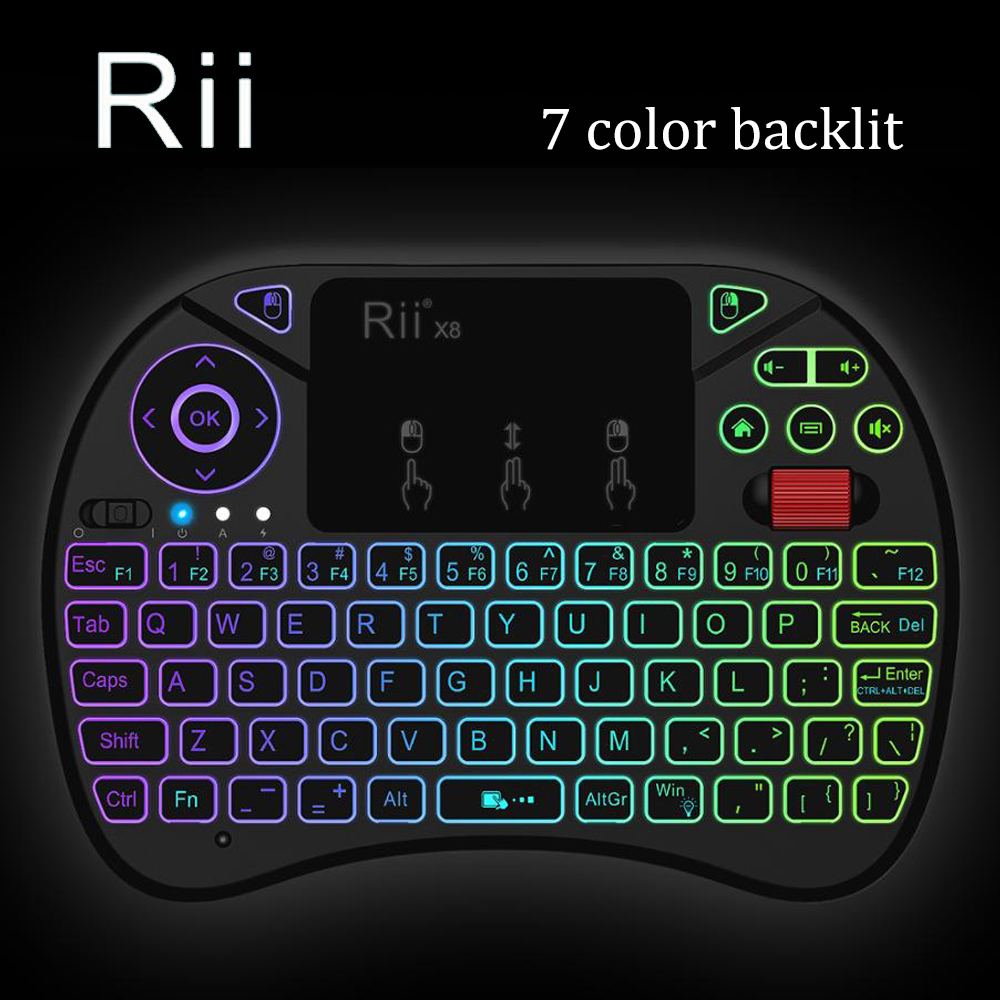 [Rii] i8X LED Backlit 2.4GHz Wireless Mini Keyboard with Touchpad Mouse Combo,Scroll Wheel for Smart TV Android Box Xbox 360 PS3 цена и фото
