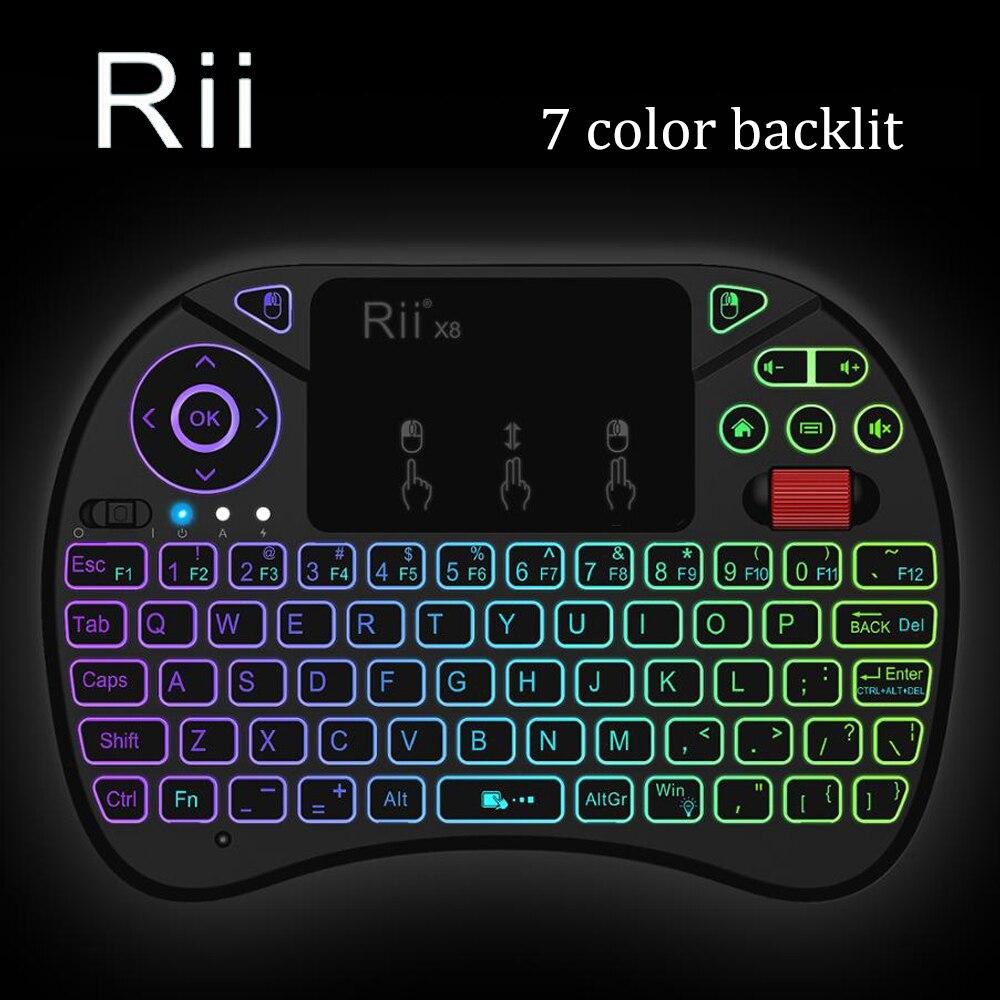 [Rii] i8X LED retroiluminada 2,4 GHz Mini teclado inalámbrico con Touchpad Combo rueda de desplazamiento para Smart TV Android Box Xbox 360 PS3