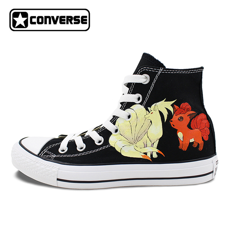 Pokemon Go Converse All Star Black Shoes Women Men Ninetales Rapidash Ponyta Vulpix Custom Design Hand Painted Canvas Sneakers pokemon go caterpie boys girls converse all star man woman shoes custom hand painted high top canvas sneaker men women