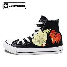 Pokemon Go Converse All Star черная обувь Для женщин Для мужчин Ninetales Rapidash Ponyta Vulpix пользовательские Дизайн Ручная роспись холст кроссовки