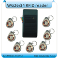 Free shipping waterproof  RFID 125KHZ Reader access control system WG26  reader /WG26/34 port +10pcs crystal keyfob