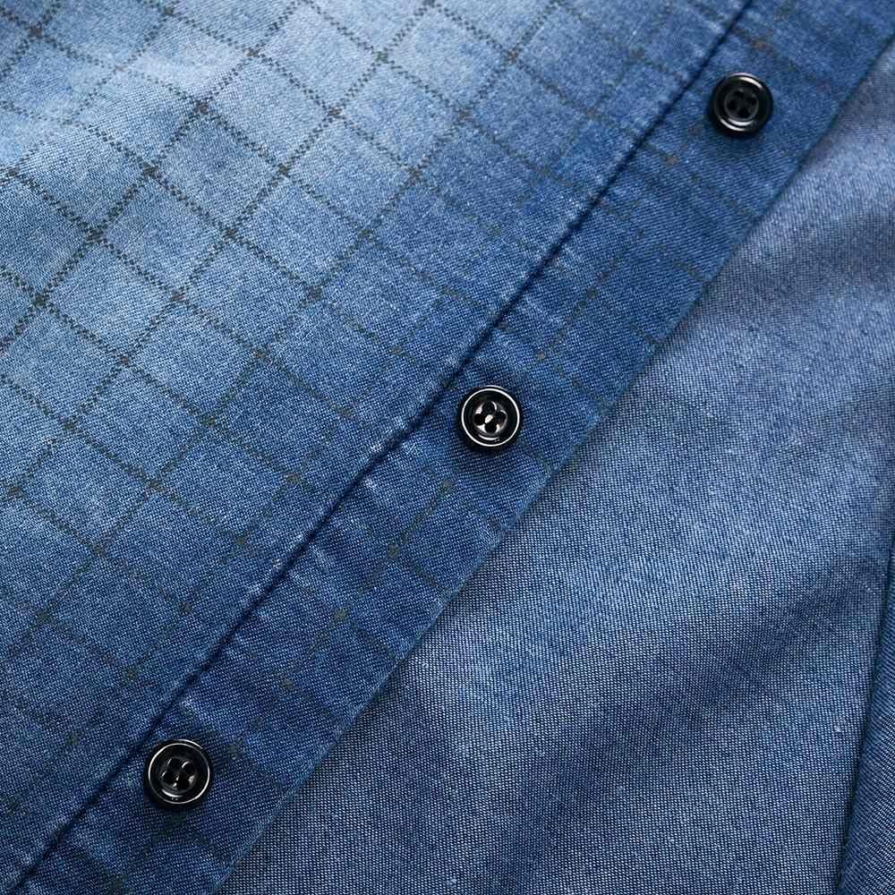 Fredd マーシャル 2018 秋デニムジーンズシャツ綿洗浄チェック柄シャツ長袖カジュアルシャツ男性ブランド服 163B