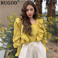RUGOD Fashion Ruffles solid women blouse 2019 new casual square collar office ladies shirts Korean long sleeve white blouses