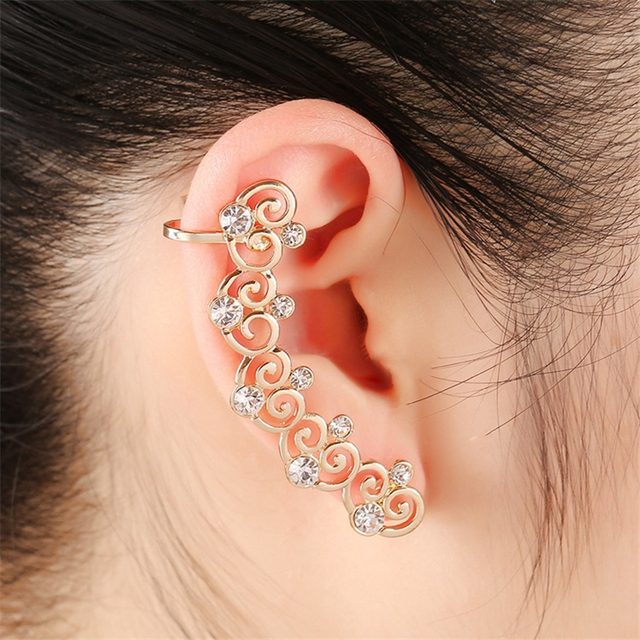 Vintage Aros Crystal Earrings Women Pattern Ethnic Long Stud Gold Color Korea Cuff