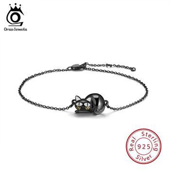 ORSA JEWELS auténtico 100% pulseras de plata de ley 925 mujeres negro pistola Hollowed Kneeling Cat Original mujer fiesta regalo SB31