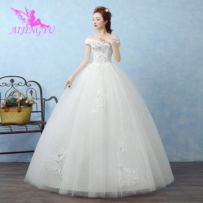 AIJINGYU 2018 Sexy Free Shipping New Hot Selling Cheap Ball Gown Lace Up Back Formal Bride Dresses Wedding Dress WK649