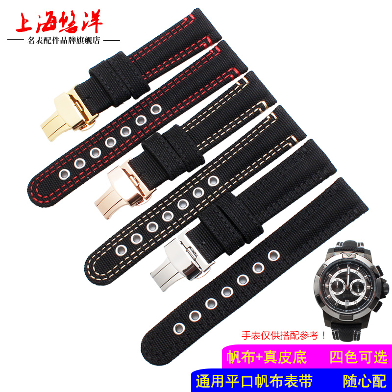 HOT Selling 20mm 22mm High quality New Arrival Canvas Genuine leather inner Watchband Canvas Two Parts Watch Strap hot selling high quality new arrival genuine leather watchband carbon fiber straps 22mm with stainless steel buckle