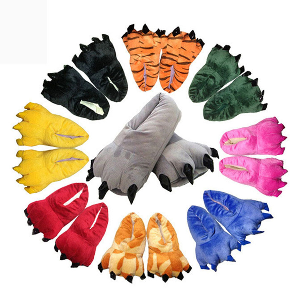 Unisex Cosplay Cartoon Slippers Animal Pikachu Tigger Giraffe Totoro Penguin Dinosaur Paw Warm Indoor Shoes For Adult Kids