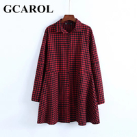 GCAROL British Style Women Plaid Long Blouse Turn Down Collar A Line Vintage Shirt High Quality