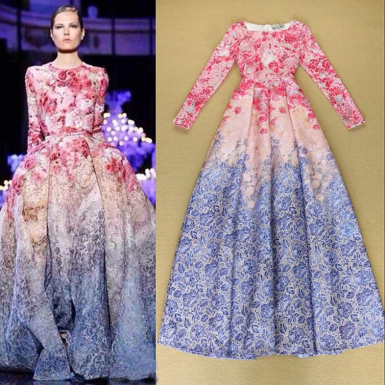 Hot Show Flower Print Grant Long Sleeve Full Dress Runway Catwalk Fl Fit And Flare In Dresses From Women S Clothing