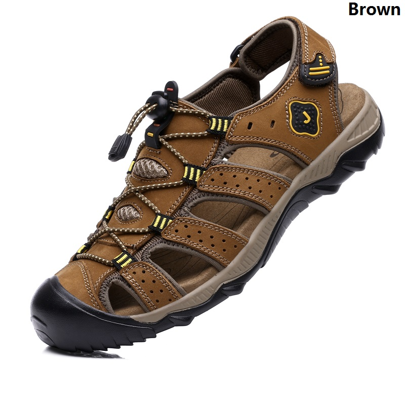 Leisure Men's Sandals With Closed Toe and Velcro Design