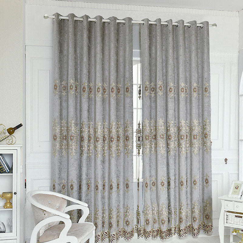 US $12.6 30% OFF|Blue Gray Water Soluble Shade Curtains Chenille Bedroom  Floral Embroidered Europe For Cortinas Curtain Voile Luxury Fabric Roman-in  ...