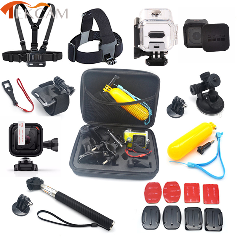 For Gopro hero 5 Session Accessories Set 45M Waterproof Case Stick Lens Protector for Gopro Session hero 4 session hero5 Session high precision cnc aluminum alloy lens strap ring for gopro hero 3 red