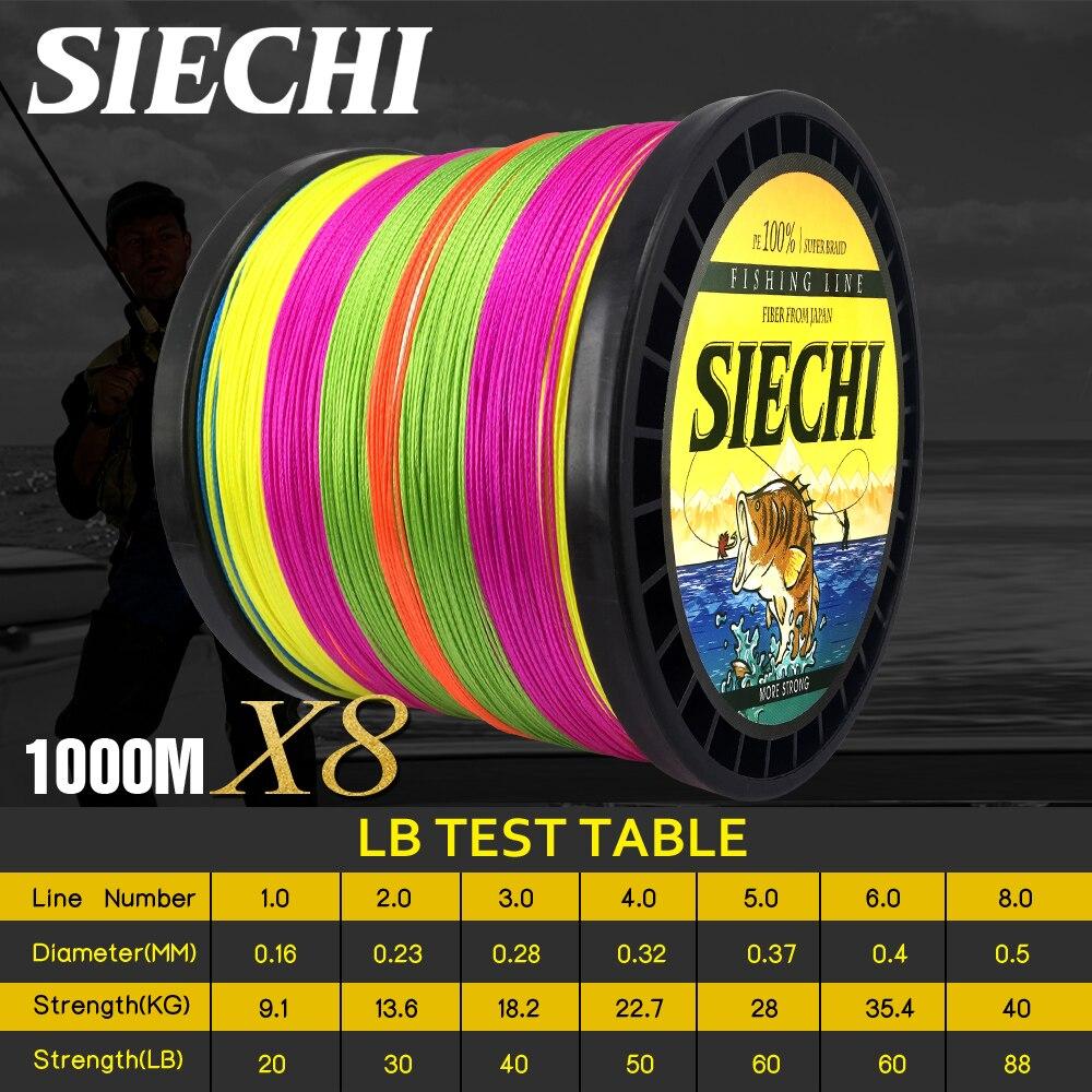 SIECHI 8 brins 1000 M 500 M 300 M PE tressé ligne de pêche tresse pêche eau de mer tissage supérieur extrême Super fort
