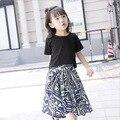 Tamanho 100 ~ 150 cm 8 9 10 anos de idade meninas conjunto de roupas top tees t-shirt + impressão saia longa 2 peças crianças conjuntos de roupas verão