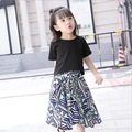 size 100~150 cm 8 9 10 years old girls clothing set top tees t-shirt +print long skirt 2 pieces children clothing sets summer