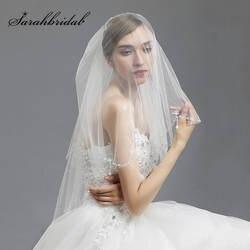 2017 Лидер продаж белые свадебные туфли Свадебная Фата с расческой 2 т бисером фаты свадебные аксессуары въелось de novia в наличии 11038