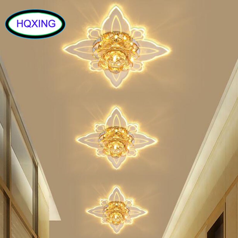 HQXING Colorful Butterfly Modern Hallway Crystal LED Ceiling Light Corridor Mirror Ceiling Lamp Aisle Veranda Lighting стоимость